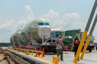 Airbus Schenker Offloading parts at Pier 8 Alabama State Docks